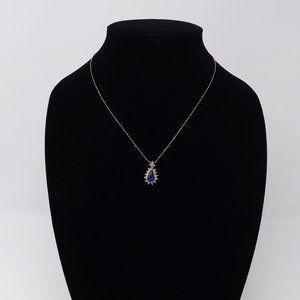 Gold w/ Blue & Clear Rhinestones Teardrop Necklace